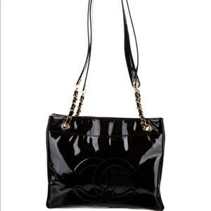 Vintage Patent Leather CC Tote Shoulder Bag